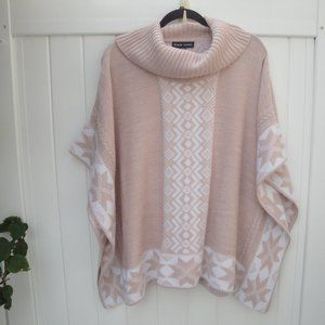 Chunky Over-sized Black Rivet Pink Poncho Sweater